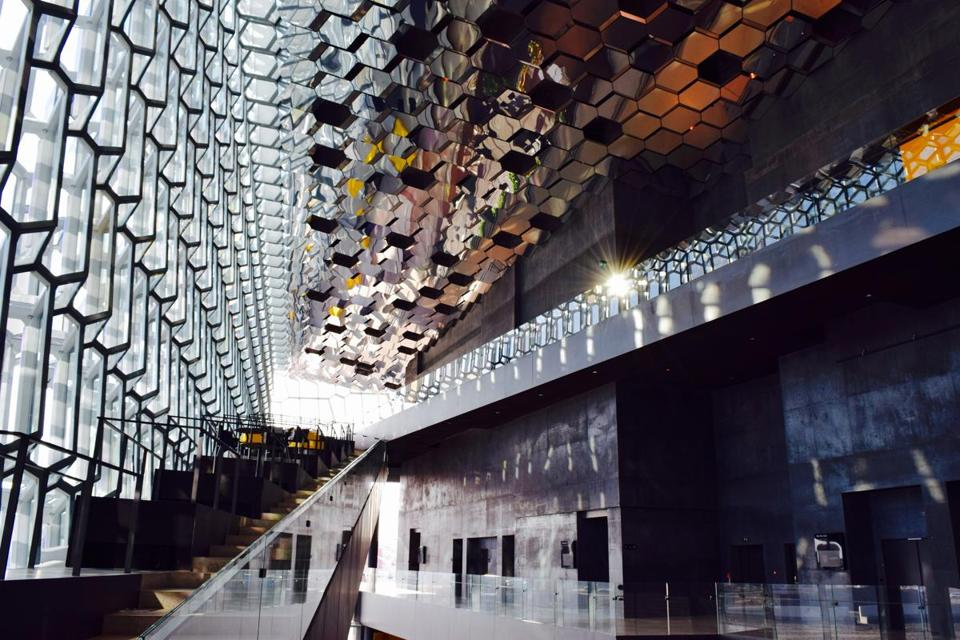 The interior of the Harpa concert hall in Reykjavik.